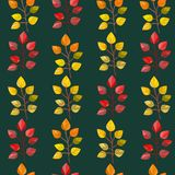 Vector seamless pattern,texture,print with fall leaves on the isolated dark colored background. Autumn colors. stock illustration
