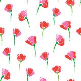 Vector seamless pattern with textured childlike stylized flowers. In red on the white background. Floral pattern in sketch style. Hand drawn element with Stock Image