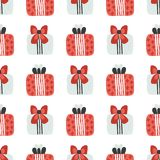 Vector seamless pattern with textured gift boxes. Merry Christmas. Hand drawn elements. Background with holiday design. Freehand style. Doodle. Wallpaper stock illustration