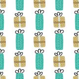 Vector seamless pattern with textured gift boxes. Merry Christmas. Hand drawn elements. Background with holiday design. Freehand style. Doodle. Wallpaper vector illustration