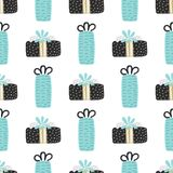 Vector seamless pattern with textured gift boxes. Merry Christmas. Hand drawn elements. Background with holiday design. Freehand style. Doodle. Wallpaper royalty free illustration