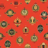 Vector seamless pattern with various beer labels. Vector seamless pattern on the theme of beer with various beer labels with images of barrels, beer glasses royalty free illustration