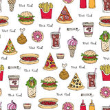 Vector seamless pattern on the theme of fast food Royalty Free Stock Photo