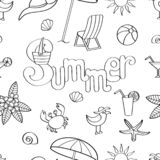 Vector seamless pattern on the theme of rest on the sea, coloring page vector illustration