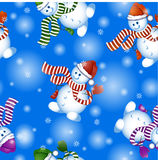 Vector seamless pattern on the theme of winter and Christmas. Funny cartoon snowmen in Christmas hats and striped scarf. Stock Photo