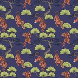 Vector seamless pattern with tigers in Japanese style. Hand drawing. Decorative background for design Stock Photo