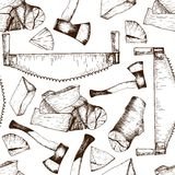 Vector seamless pattern of timber working tools. Saw, axe, firewoods. Vintage sketched engravred style. Royalty Free Stock Photos
