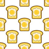 Vector seamless pattern with toasts and fried eggs. Cartoon toasts with fried eggs background. Flat breakfast on. Background. EPS Royalty Free Stock Photo