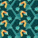 Vector seamless pattern with toucan Royalty Free Stock Photos