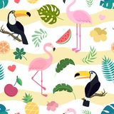 Vector seamless pattern with toucan and flamingo Stock Photos