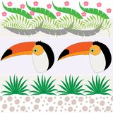 Vector seamless pattern with toucan and palm leaves. Illustration of a cartoon toucan. Scrapbook paper, wrapping paper. vector illustration