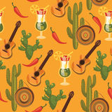 Vector seamless pattern with traditional Mexican symbols. Stock Image