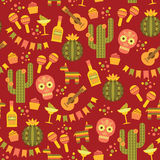 Vector seamless pattern with traditional Mexican symbols. Royalty Free Stock Images