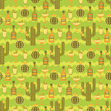 Vector seamless pattern with traditional Mexican symbols. Stock Photo