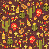 Vector seamless pattern with traditional Mexican symbols. Stock Photos