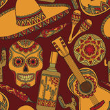 Vector seamless pattern with traditional mexican symbols Royalty Free Stock Photos