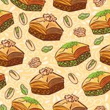 Vector seamless pattern with traditional middle eastern dessert Baklava with pistachio and walnut. Hand drawn doodle objects on floral ornament with swirls on royalty free illustration