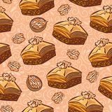 Vector seamless pattern with traditional middle eastern dessert Baklava with walnut. Hand drawn doodle objects on floral ornament with swirls on light beige stock illustration