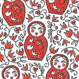 Vector seamless pattern with traditional russian doll matryoshka and floral ornament. Vector seamless pattern with traditional russian floral ornament and Royalty Free Stock Photography
