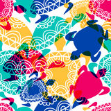Vector seamless pattern with transparent multicolor ornamental t. Urtles. Hand drawn background Royalty Free Stock Photography