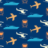 Vector seamless pattern with transportation icons silhouettes. Logistics, delivery service. Website background, design elements, kids wallpaper, textile print Royalty Free Stock Photo