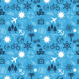 Vector seamless pattern with travel icons Royalty Free Stock Photo
