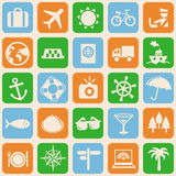 Vector seamless pattern with travel icons Stock Photo