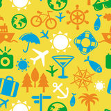 Vector seamless pattern with travel icons Stock Photos