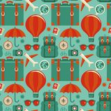 Vector seamless pattern with travel icons Royalty Free Stock Photos