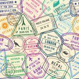 Vector seamless pattern of travel illustrations with stamps, visa and different documents for traveling. Color stamp in airport for official departure or Stock Photography