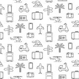Vector seamless pattern with Travel vacation icons set Stock Photo