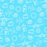 Vector seamless pattern of travelling on airplane. Tourism background. Vector seamless pattern of travelling on airplane. Tourism color background Stock Illustration