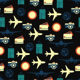 Vector seamless pattern of travelling on airplane. Tourism background. Vector seamless pattern of travelling on airplane. Tourism color background Royalty Free Illustration