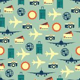 Vector seamless pattern of travelling on airplane. Tourism background. Vector seamless pattern of travelling on airplane. Tourism color background Vector Illustration