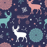 Vector seamless pattern with trees, deers and flowers. Christmas  seamless pattern with trees, deers , flowers and snowflakes. Winter background for cards Stock Image