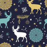 Vector seamless pattern with trees, deers and flowers. Christmas  seamless pattern with trees, deers , flowers and snowflakes. Winter background for cards Stock Photography
