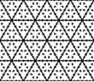 Vector seamless pattern with triangular carved figures. Vector monochrome texture, abstract black & white geometric seamless pattern. Triangular carved figures Stock Images