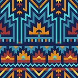 Vector Seamless Pattern in Tribal: Blue & Brown stock illustration