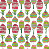 Vector seamless pattern with tribal leaf and trees. Tribal fores Royalty Free Stock Photos