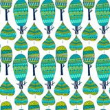 Vector seamless pattern tribal leaf and trees. Tribal forest pattern. Nature backdrop, repeated background.