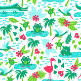 Vector seamless pattern with tropical animals Royalty Free Stock Image