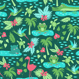 Vector seamless pattern with tropical animals Stock Images