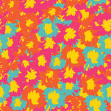 Vector seamless pattern with tropical flowers. Detailed colorful graphic botanical elements Stock Photos