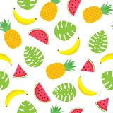 Vector seamless pattern with tropical leaves, pineapples, bananas and watermelon slices Royalty Free Stock Image