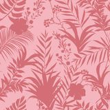 Vector seamless pattern tropical monotone forest leaves. On pink Royalty Free Stock Photo