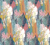 Vector seamless pattern with tropical plants and hand drawn abstract textures vector illustration