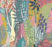 Vector seamless pattern with tropical plants and hand drawn abstract textures stock image