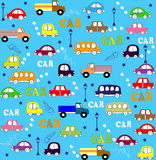 Vector seamless pattern trucks, buses and cars Stock Photography