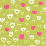 Vector seamless pattern with tulips and grass. Floral pattern. Royalty Free Stock Photos