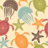 Vector Seamless Pattern with Turtles, Starfishes, and Jellyfishe Stock Images
